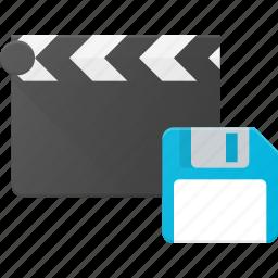 clapper, clip, cut, movie, save icon