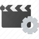 clapper, clip, cut, movie, settings icon