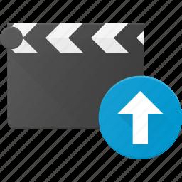 clapper, clip, cut, movie, upload icon