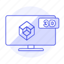 3d, modern, smart, television, tv, video, widescreen icon