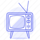 fashioned, old, retro, television, tv, video, vintage icon