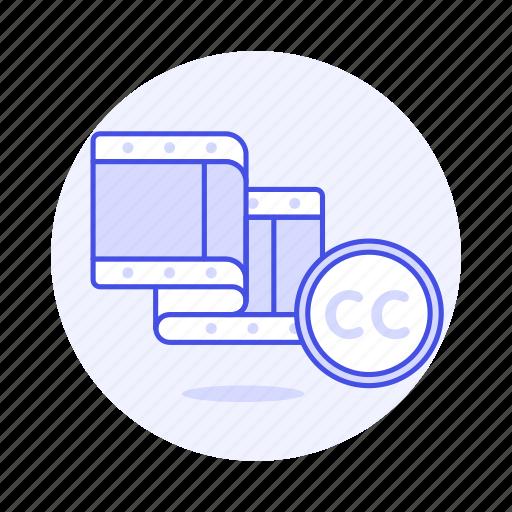 cc, commons, creative, editing, film, video icon