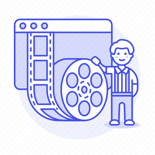 1, editor, film, male, media, movie, player, roll, video icon