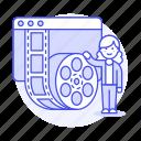 editor, female, film, media, movie, player, roll, video icon