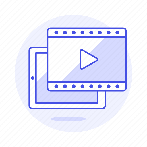 app, button, film, media, movie, play, player, streaming, tablet, video icon