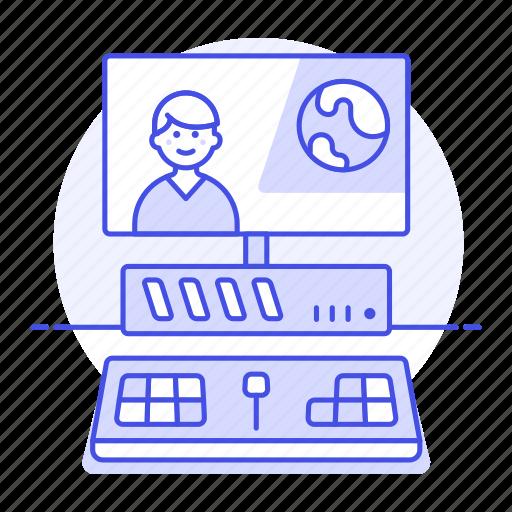 1, content, creator, desktop, editing, editor, male, media, pc, video, workstation icon