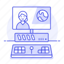 content, creator, desktop, editing, editor, female, media, pc, video, workstation icon