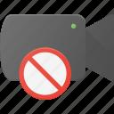 cam, camera, disable, film, movie, no, record icon
