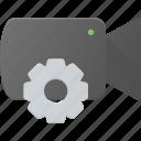 cam, camera, film, movie, record, settings icon
