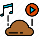 audio, cloud, music, play icon