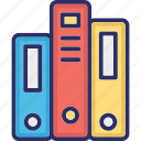 books, business archives, files, novel, reading books icon