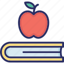 apple with book, healthy reading, knowledge book, learning book, scholastic icon