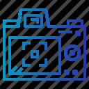 back, camera, lcd, screen icon