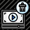 delete, cancel, remove, trash, video