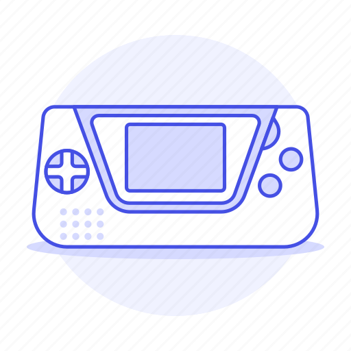 1, consoles, game, gear, portable, purple, video icon