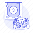 blue, consoles, controller, game, gamecube, nintendo, retro, video, vintage icon