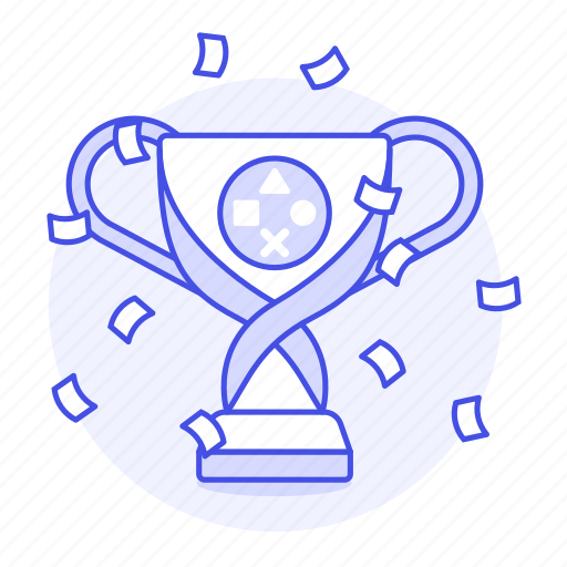 1, competition, confetti, egames, esports, game, games, playstation, ps, triumph, trophy, video, winner icon
