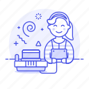 gamer, game, old, famicon, famicom, playing, nes, gaming, nintendo, video, vintage, female