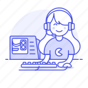 mouse, playing, half, setup, pc, video, keyboard, game, headset, gaming, female, cpu, gamer
