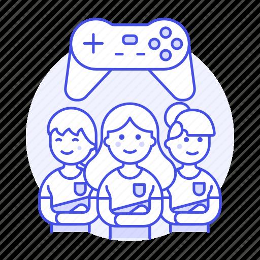 2, championship, egames, esports, female, game, group, league, team, teammate, video icon