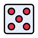 dice, five, game, ludo, play icon