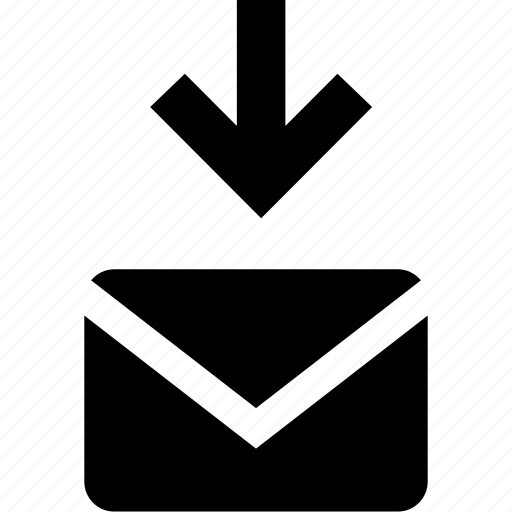 arrow, down, email icon