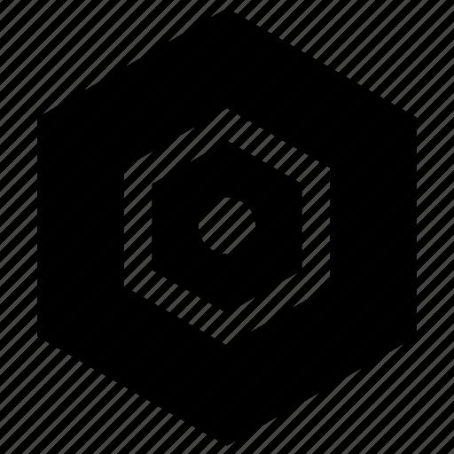 cente, eye, hexagon icon