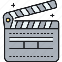 clapperboard, action, action clapper, clapper icon