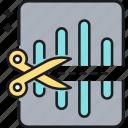 audio, cutting, editing, sound, trim, trimming, voice icon