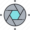aperture, camera, lens, shutter icon