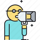 director, loudspeaker, shout, yell icon