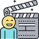 clapperboard, crew, movie, staff icon