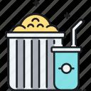 cinema, movie, popcorn, soda icon