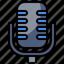 electronics, microphone, radio, sound, vintage icon