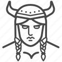 female, nordic, viking, warrior, woman icon