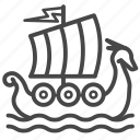 boat, sail, sea, ship, viking, yawl icon