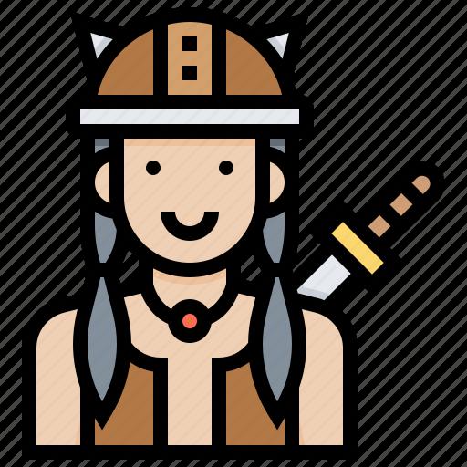 avatar, girl, viking, warrior, woman icon