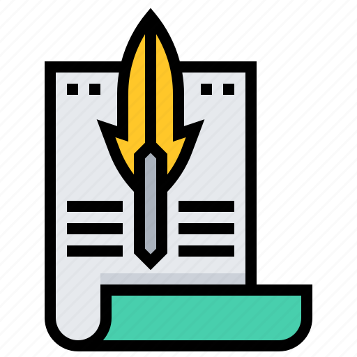 document, feather, letter, mail icon