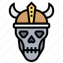 dead, head, monster, skull, viking icon