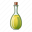bottle, cartoon, oil, branch, cooking, olive, virgin icon
