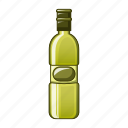 bottle, cartoon, oil, olive, natural, healthy, object icon