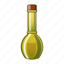 bottle, glass, cartoon, oil, olive, cooking, virgin icon