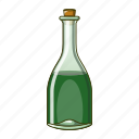 alcohol, beer, bottle, cartoon, cold, glass, green icon