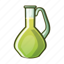 bottle, glass, cartoon, oil, olive, bowl, jar icon