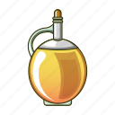 bottle, cartoon, cooking, diet, oil, olive, round icon