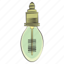 hand drawn, light bulb, vintage light bulb icon