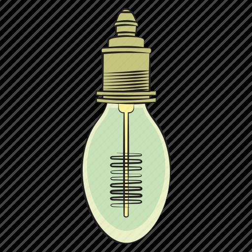 hand drawn, light bulb, vintage light bulb icon