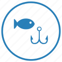 fish, fishing, label, rest, round icon