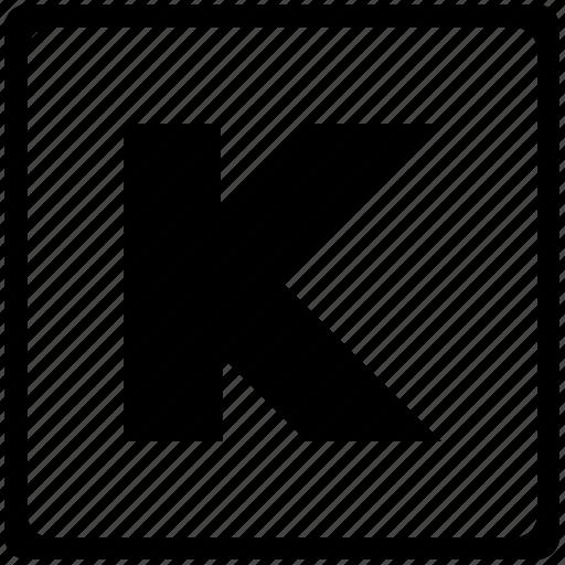 alphabet, english, k, language, latin, letter, uppercase icon