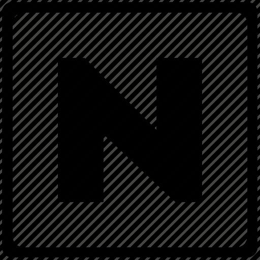 alphabet, english, language, latin, letter, n, uppercase icon